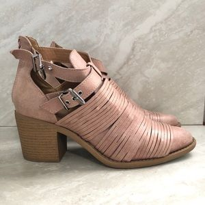 Qupid Strappy Buckle Ankle Boots Block Heel Blush